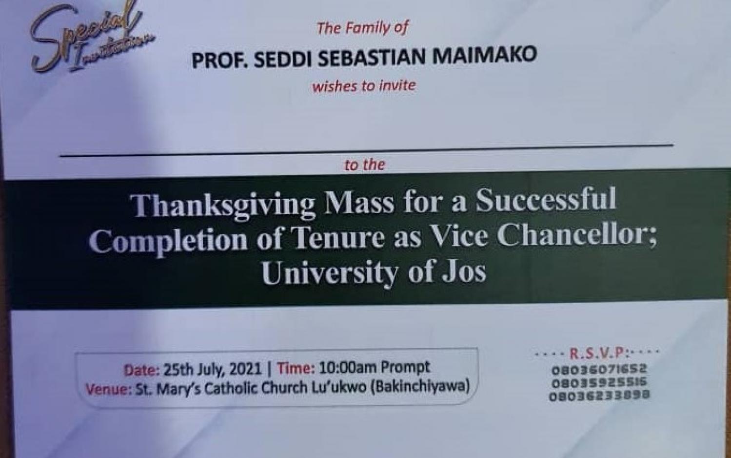 Special Thanksgiving Mass for Professor SS Maimako